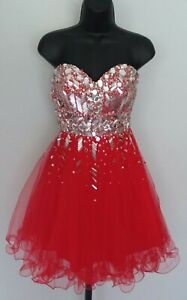 Kiss Kiss Formal Short Dress Prom Homecoming Pageant Red / Silver Size 4