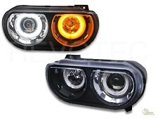 08-14 Dodge Challenger G2 Black Halo Projector Headlights For Halogen Type
