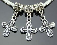 30pcs Tibetan Silver Cross Dangle Charms Fit European Bracelet ZY47