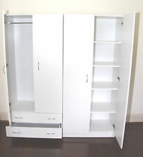 Budget 1600mm White 2 Piece Wardrobe - Hanging, Drawers & Shelves - BRAND NEW