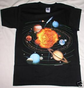SOLAR SYSTEM  ASTRONOMY T-SHIRT.  ADULT LARGE.  NEW IN PACKAGE.