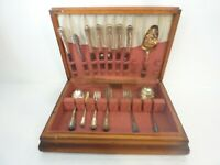 Vintage King Edward Silverplate Flatware Set 32 Pieces with Chest