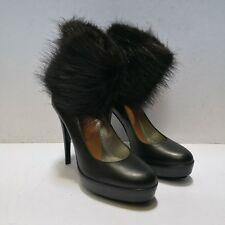 Larare Paris Miss Beluga Leather and Beaver Fur Pumps (Size 36)