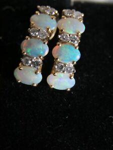 Solid 14K Yellow Gold Natural Fire Australian 6 Opals, 12 Diamonds Earrings Mint