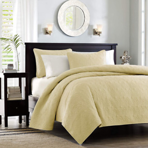 Madison Park 3 Piece Cal King Coverlet Set Color Dusty Pale Yellow NIP