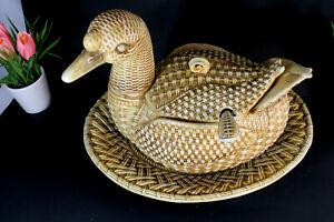 Rare Vintage italian ceramic Soup tureen bowl on plate duck form