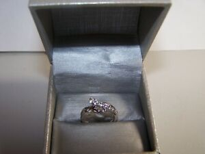 NEW ZALE'S JEWELERS SAPPPHIRE CLUSTER BYPASS TWIST STERLING SILVER COCKTAIL RING