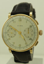 Cyma 1940s 14k Gold 38mm Manual Cal.400L Two Register Chronograph
