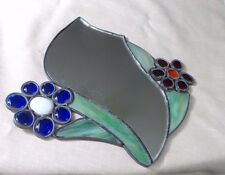 MOD RETRO STAINED GLASS MIRROR WITH RED BLUE DAISEYS