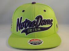 NCAA Notre Dame Irish Snapback Hat Cap Zephyr Atomic Swoop Neon Green