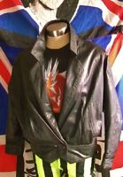 retro style crop black leather jacket.size 12.X-over, 2stud waist button