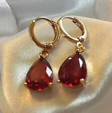 J31 Raspberry 10x7mm pear garnets 18k gold gf huggy hoop dangle earrings BOXED