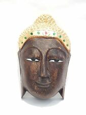 """Buddha Mask Hand Carved Wood Hand Pained Wall Hanging Home Decor 8"""" #N0548"""