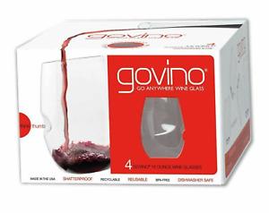 GoVino Go Anywhere 16 oz. Shatterproof Flexible Wine Glasses, Set of 4, BPA Free