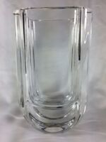 Kosta Boda Vase Wharf Art Deco Lead Crystal Heavy Table Numbered and Signed