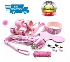 14pcs Pink Leather Beginners Bondage Sex Set Kit Restraint Cuff Collar Whip