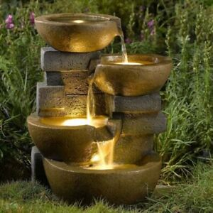 Outdoor Water Fountain With LED Lights 4 Tier Pots Patio Garden Yard Waterfall