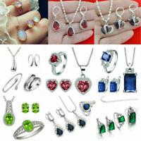 Women 925 Silver Jewelry Sets Gemstone Topaz Pendant Necklace Rings Earrings