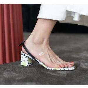 Womens 2021 Fashion Leather Bowtie Block Heel Slingback Beach Sandals Shoes SUNS