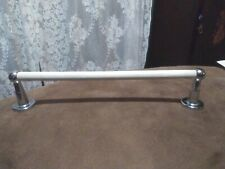Vtg Retro Mid Century Kitchen Bathroom Towel Bar with Chrome Brackets