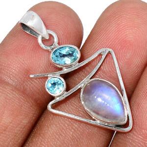 Rainbow Moonstone - India & Blue Topaz 925 Silver Pendant Jewelry BP93920