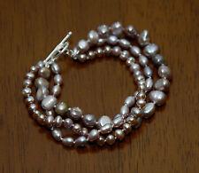 Sterling Silver Twist Pearls Genuine Lavender Pearl Bracelet w/ Toggle Clasp