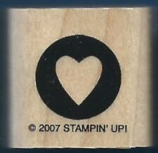 HEART STENCIL CIRCLE BORDER POSTAGE SEAL card Stampin' Up! wood RUBBER STAMP
