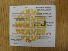 01/01/1972 Ticket: Wolverhampton Wanderers v Newcastle United [Complete] . Footy