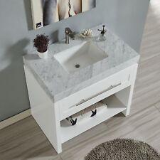 36-inch White Cabinet w/ Carrara White Marble Stone Countertop & Rectangle Sink