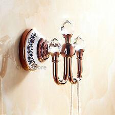 Luxury Rose Gold Wall Mount Coat Clothes Hanger Bathroom Towel Hook Crystal Deco
