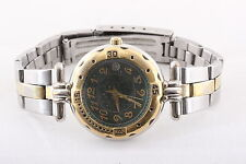 FOSSIL GREEN FACE DOME CRYSTAL ES-8587 3ATM TWO TONE WR NEW BATTERY WATCH 6268