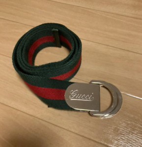 Old GUCCI Logos Web Stripe Belt Green Red Silver Canvas Italy Authentic 104 4cm