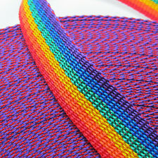 RAINBOW striped polypylene webbing / strap - width choice - ideal for bag making