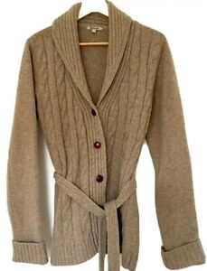 BARBOUR Cable Knit Belted Pure Lambswool Cardigan UK12  RRP£120 *PERFECT*
