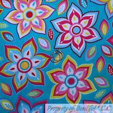 BonEful FABRIC FQ Cotton Quilt Teal Aqua Blue Rain*Bow White Red Flower Large US