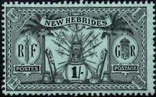 New Hebrides 1911 KGV  1/- Black/Green   SG.26 Mint (Hinged)  Wmk.Multi Crown CA