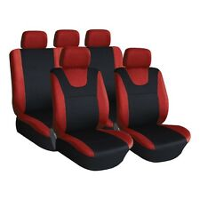 Red and Black, Executive Car Seat Covers, Front & Rear: Plush Velour (8 Piece)