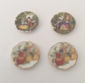 Four Dolls House Ornamental Decorative Plates (some Reutter)