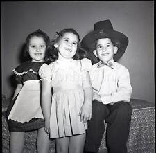 Cute Kids Little Girls and Boy in Big Pilgrim Hat Vintage 1950s Negative Photo