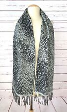 Made In Scotland 100% Cashmere Fringe Scarf Leopard Print Gray Soft Washable