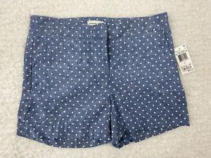 NEW Adrienne Vittadini Shorts Size 2  Blue White Polka Dot  Chambray  Linen