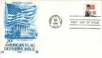 1981 AMERICAN FLAG 20 CENT DEFINITIVE ISSUE ART CRAFT/PCS CACHET UNADDRESSED FDC