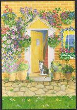 Postcard. 'Cat by Cottage Door'.  Aspects. F.J.Warren.  Unused.