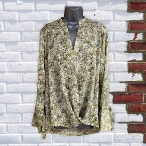 NEXT - Womens UK 16 Green Print Long Sleeve Knot Front V-Neck Top/Blouse