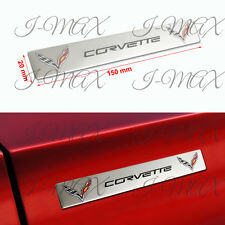X2 Chevy Corvette Silver Car Trunk Fender Hood Engine Emblem Badge Decal Sticker