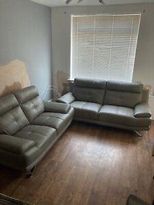 Harveys Islington Leather Triple And Double Sofa Grey