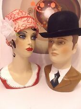 Vintage style Mr & Mrs  hand painted mannequin heads and shoulders