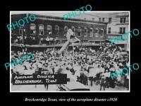 OLD LARGE HISTORIC PHOTO OF BRECKENRIDGE TEXAS, THE AEROPLANE DISASTER c1920