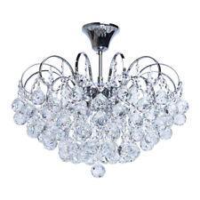 Lampadario classico grande di metallo cromo lucido gocce cristallo molato