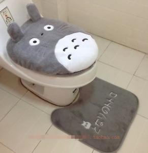 Cute Plush Comfy 3Pcs Totoro Toilet Seat Cover Cartoon Bathroom Lid Mat Sets New